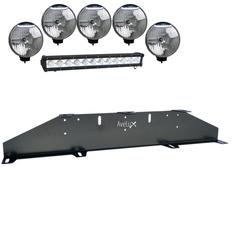 Extraljusfäste, fem lampor och en LED Extraljusramp